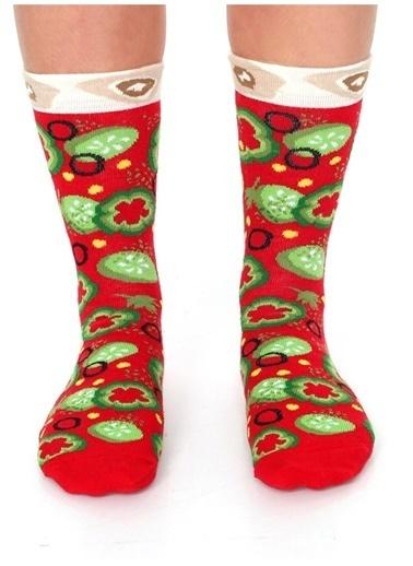 Socks+Stuff Socks&Stuff 4'lü Veggie Pizza Çorap Renkli
